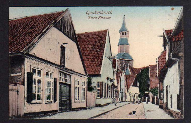 Ansichtskarte Quakenbrück Kirch Strasse 1908 0