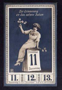 Ansichtskarte Zittau 1913 Erinnerung an das seltene Datum 11.12.13 Frau Kalender Fot