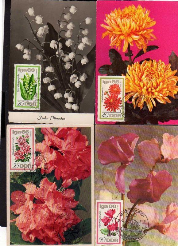 4 Maximumkarten DDR 1966 1189 - 1192 Gartenbau Ausstellung IGA Erfurt