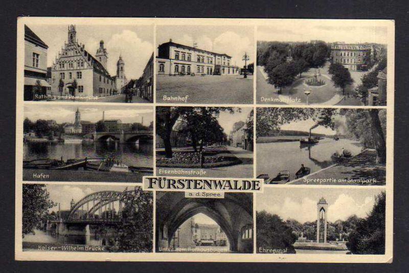 Ansichtskarte Fürstenwalde Spree Bahnhof 1941 Denkmalsplatz Hafen Eisenbahstraße Ehr