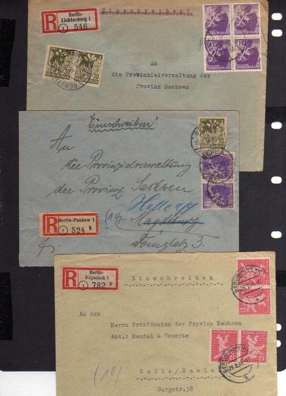 B1016 3x Brief SBZ Einschreiben Berlin Köpenick Pankow Lichtenberg an Präsident