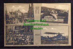 Ansichtskarte Reichenberg Fotokarte Messe 1921 Messegebäude Flugzeug Doppeldecker Re
