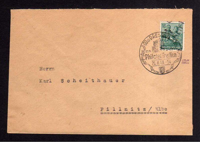 h1115 Brief Handstempel Bezirk 14 16 Pfg. nach Pillnitz SST Philatelistentreffen