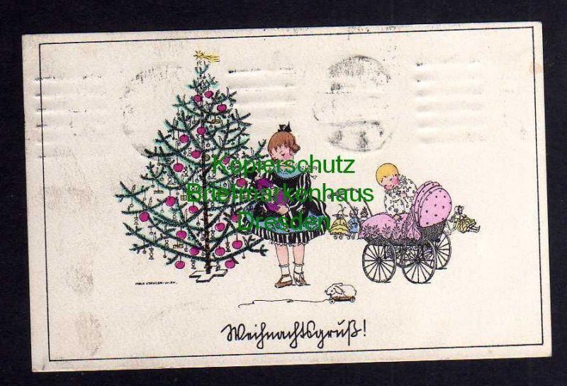 Weihnachtsgrüße Als Tannenbaum.Ansichtskarte Weihnachten Weihnachtsgruß Mela Köhler Wien Weihnachtsbaum Kinderwagen