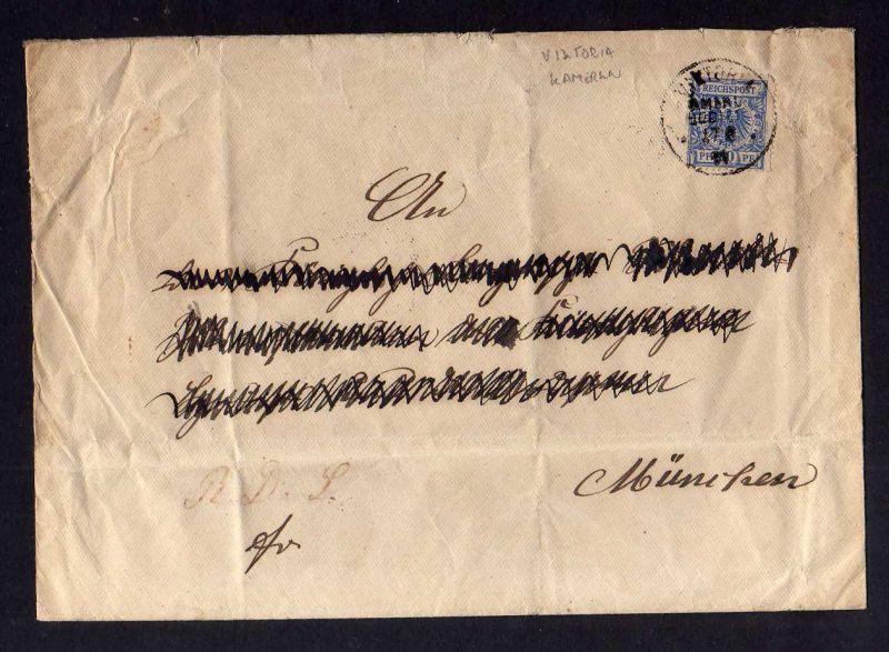 B1001 Victoria Kamerun Vorläufer 1891 Leinenumschlag V48b intaktes Siegel Bezirk
