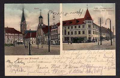Ansichtskarte Wilsdruff Hotel Goldner Löwe Markt 1908