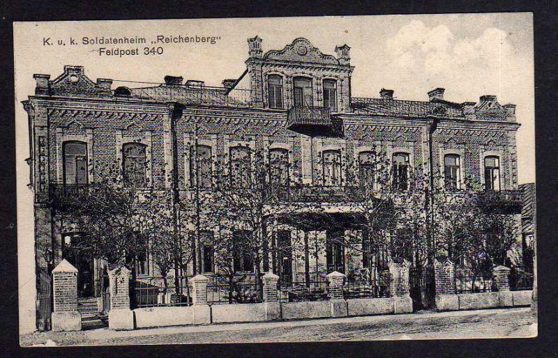 Ansichtskarte K. u. K. Soldatenheim Reichenbach 1917 Feldpostamt 340