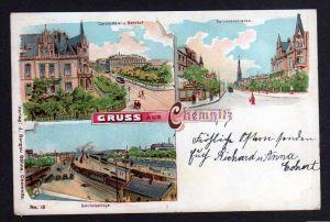 Ansichtskarte Chemnitz Litho Carola Hotel Bahnhof Carolinenstrasse 1902