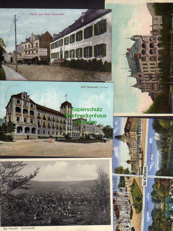 5 Ansichtskarte Bad Neuenahr Hotel Fürstenberg 1915 Kurhaus 1909 Walburgis Stift 191