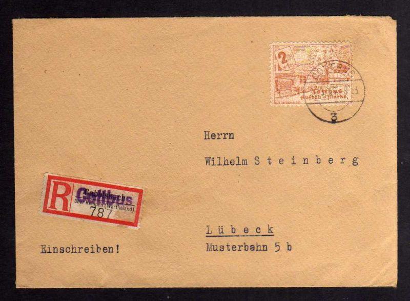 B040 Brief Deutschland Lokalausgabe Cottbus 30.3.46 nach Lübeck