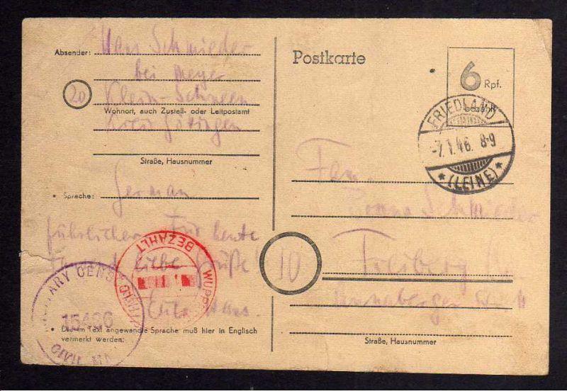 B102 Friedland Leine Niedersachsen 7.1.46 Postkarte P 671 Zensur Military Censor