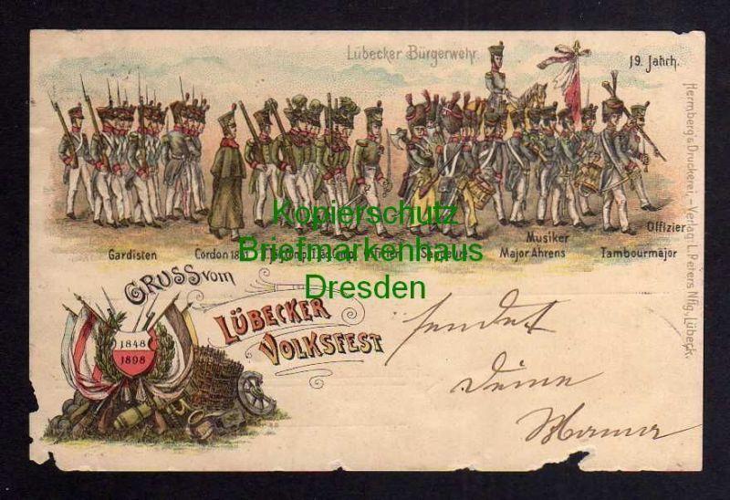 Ansichtskarte Lübeck Litho Lübecker Volksfest 1898 Lübecker Bürgerwehr 19. Jahrhunde