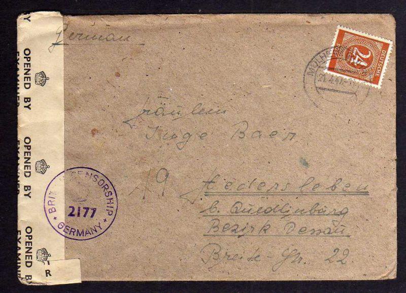 B104 Brief Mühlheim Ruhr 21.4.47 nach Hedersleben bei Quedlinburg British Censor