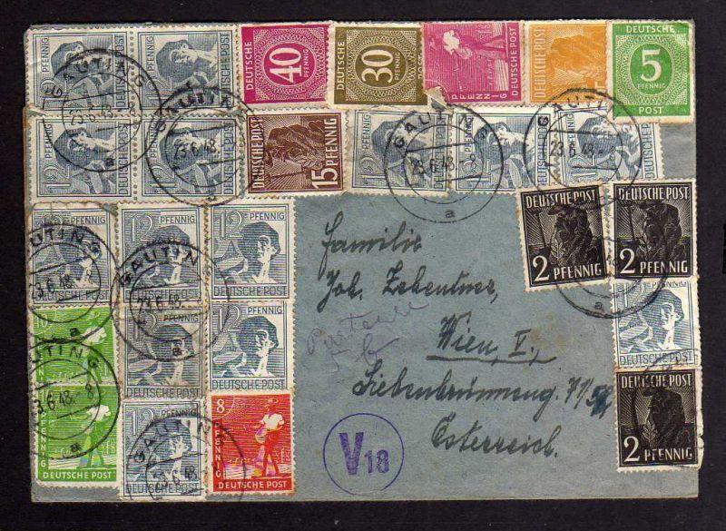 B107 Brief Gauting 23.6.48 Währungsreform West Zehnfach Wien Österreichische Zen