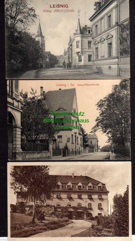 3 Ansichtskarte Leisnig König Albert Straße um 1910 Erholungsheim Paudritzsch Post K