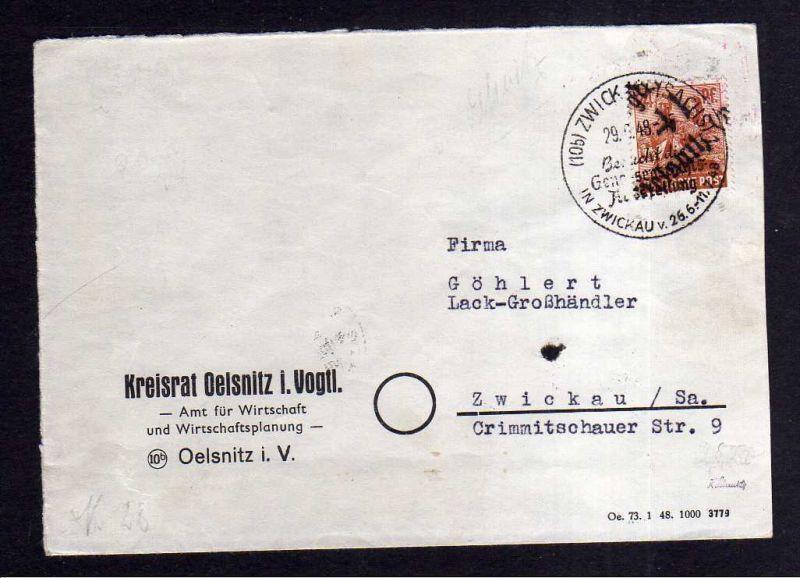 h1322 Brief Handstempel Bezirk 41 Oelsnitz 29.6.48 Kreisrat  SST Genossenschafts