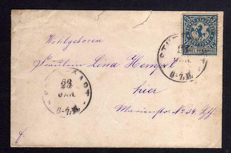 B003 Privatpost Stuttgart um 1898 kleiner Brief