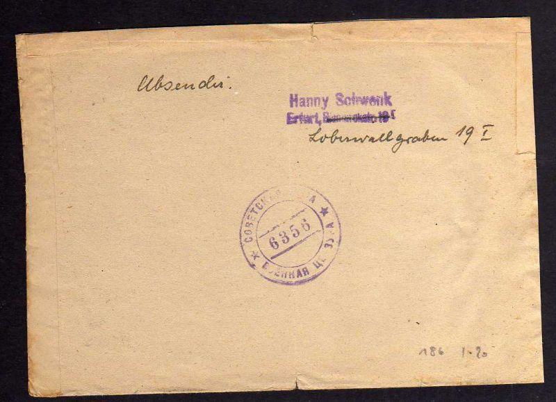 B186 Brief Deutschland Sbz Sowjetische Zensur 6366 Erfurt 1948 Nr