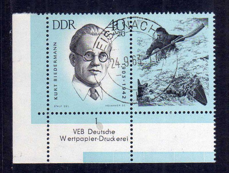 DDR 1962 987 gestempelt Eisenach Ersttag Bogenecke 3 und Farbbalken