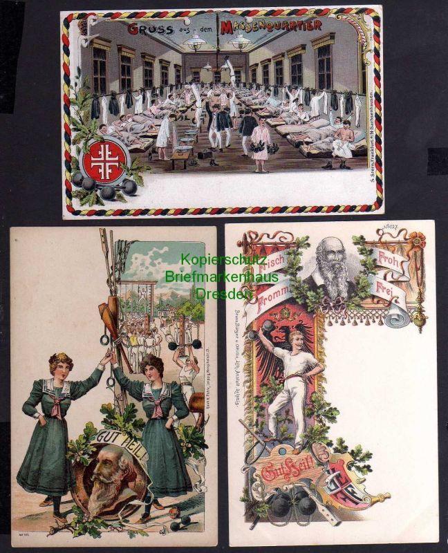3 Ansichtskarte Turner Künstlerkarten Litho Massenquartier Turnplatz Turnvater Jahn