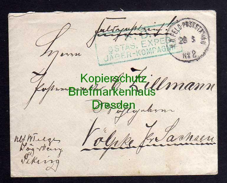 Brief K.D. Feldpoststation 2 Peking 1901 grüner SB Soldaten Brief Stempel