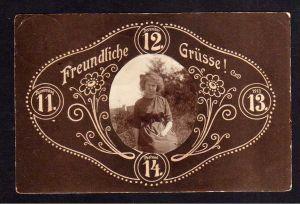 Ansichtskarte Breslau Datum 11.12.13 11 - 12V Postamt 14 Frau Foto aufgeklebt