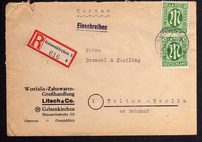 B062 Brief AM Post 31 Einschreiben Gelsenkirchen Bedarf 2 x 42 Pfennig