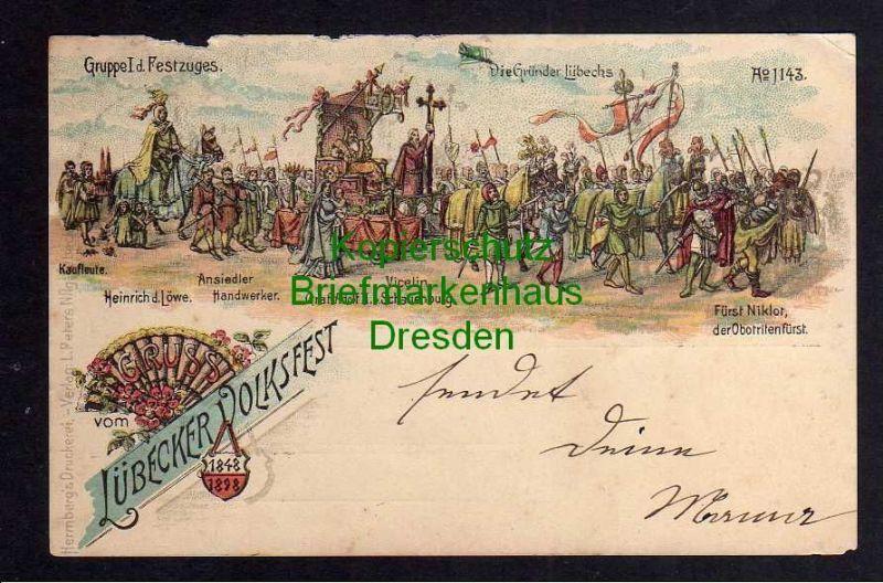 Ansichtskarte Lübeck Litho Lübecker Volksfest 1898 Gruppe I d. Festzuges Gründung