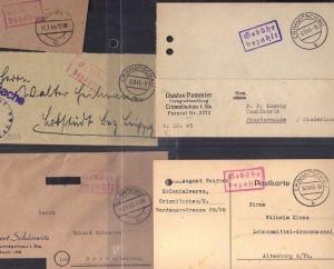 B302 5x SBZ Brief Karte Gebühr bezahlt 1945 Crimmitschau Postsache Tuchgroßhandl