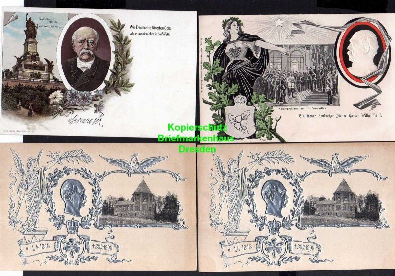 4 Ansichtskarte Bismarck Mausoleum 1898 Litho National Denkmal Niederwald Kaiserprok