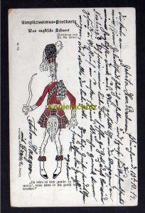 Ansichtskarte Simplicissimus Postkarte Das englische Schwert Th. Th. Heine 1914