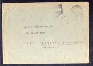 B333 SBZ Brief Gebühr bezahlt 1945 Eberswalde Bodenreform Neustrelitz