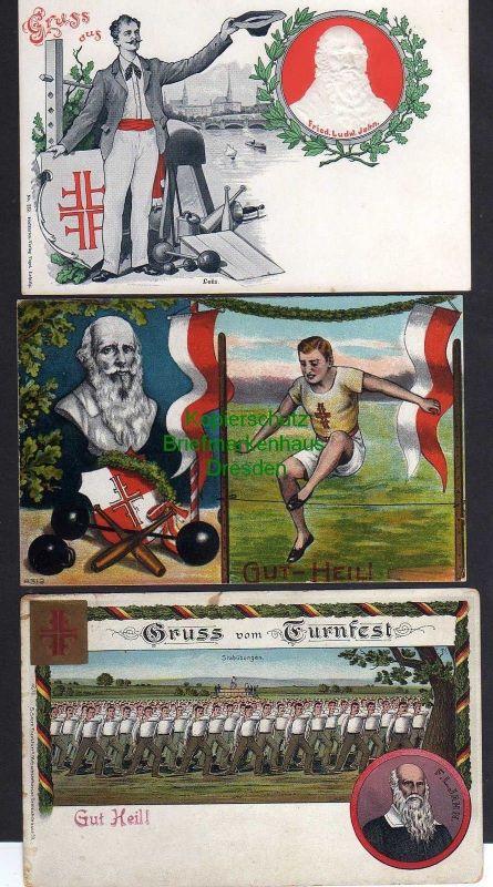 3 Ansichtskarte Turner Künstlerkarten Litho Gut Heil um 1900 Turnvater Jahn geprägt