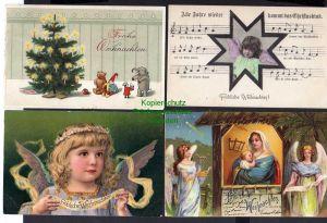 12 Ansichtskarte Frohe Weihnachten Kinder geprägt mit Säge Schnee Winter Stern Chris