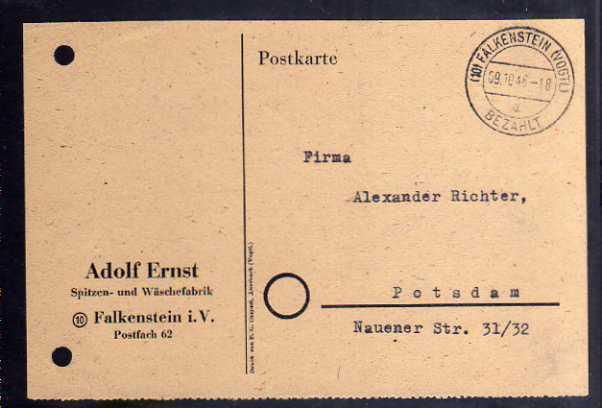 B359 Karte SBZ Gebühr bezahlt 1945 Falkenstein Vogtl. Spitzen- und Wäschefabrik