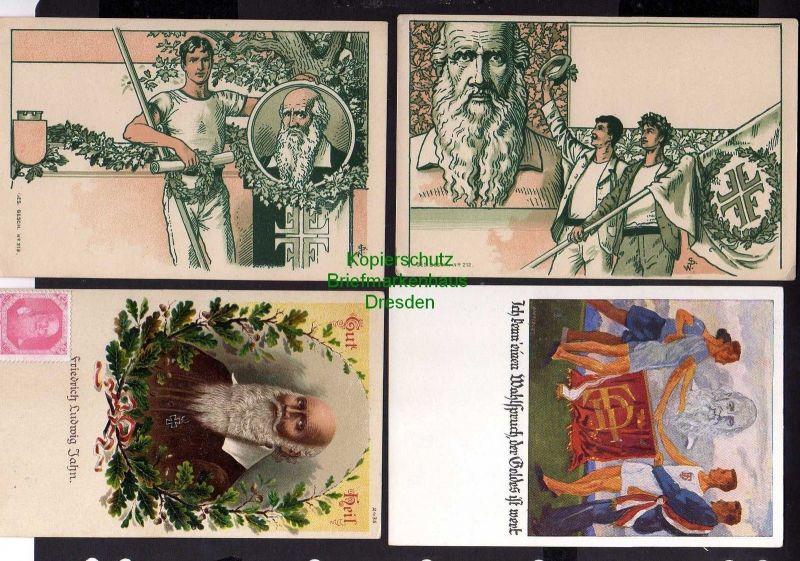 4 Ansichtskarte Turner Künstlerkarten Litho Turnvater Jahn Gut Heil um 1900 Vignette