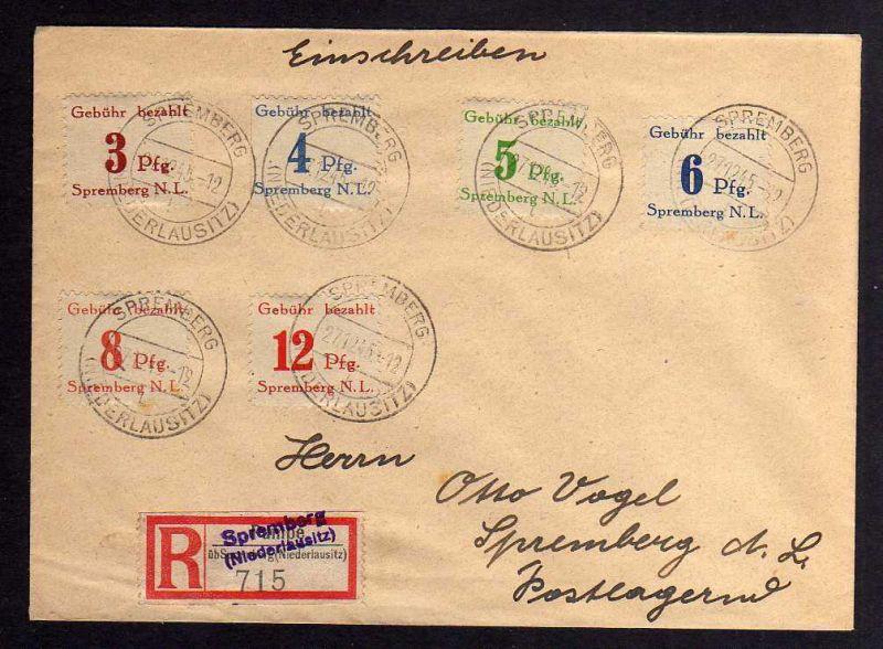 B042 Brief Deutschland Lokalausgabe Spremberg 1-6 graues Papier