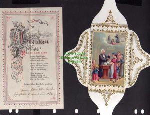Taufbrief Zum Andenken Hohenstein 1894 mit Spruchzettel Patenbrief