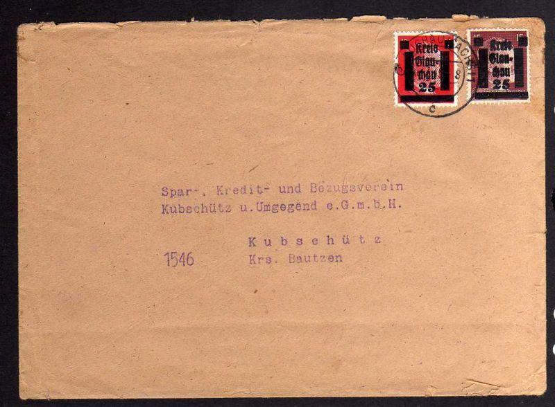 B036 Brief Deutschland Lokalausgabe Glauchau Bedarfsbrief 16.7.45
