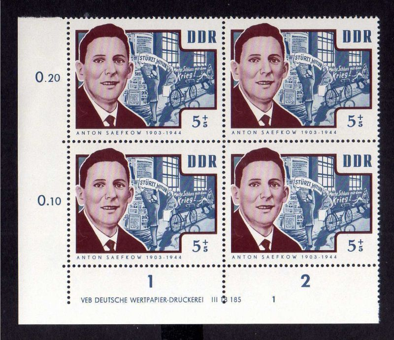 DDR 1964 1014 Antifaschisten ** DV Druckvermerk 1