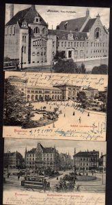 3 Ansichtskarte Hannover Badehalle Bahnhof Regidienthorplatz 1902 1904 1906