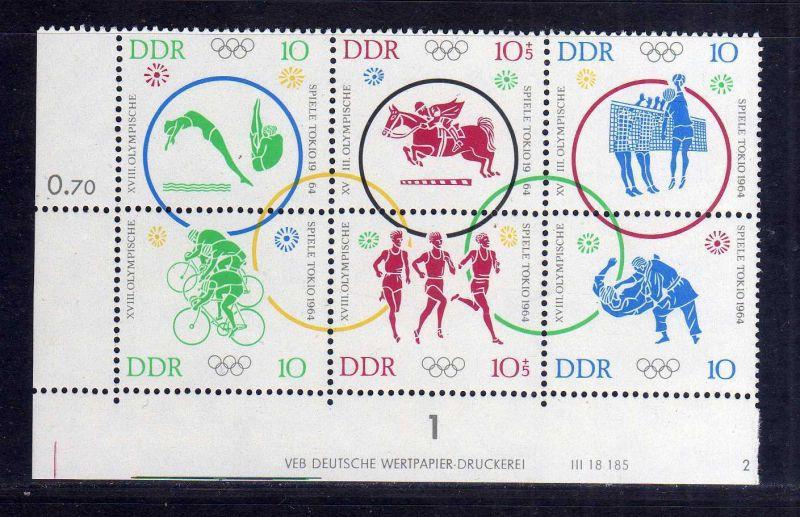 DDR 1964 1039 - 1044 Olympische Sommerspiele Tokio ** Druckvermerk 2 + Schn