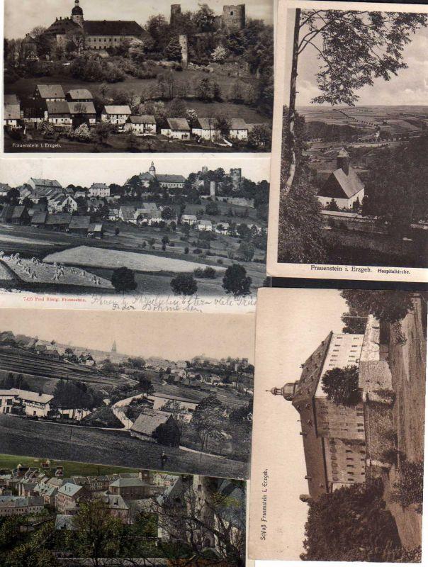 6 Ansichtskarte Frauenstein Schloss Hospitalkirche verschiedene Ortsansichten ab 1909