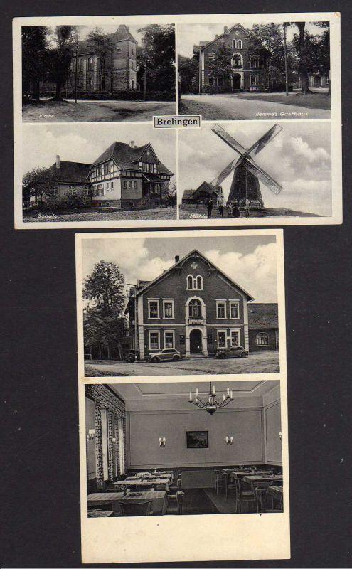 2 Ansichtskarte Breilingen Kr. Burgdorf Hannover 1938 Windmühle Mole Kirche Schule