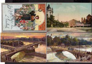 4 Ansichtskarte München Sport Ausstellung Litho 1899 Kinder Hund Synagoge Künstler