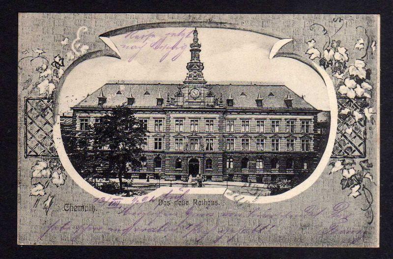 Ansichtskarte Chemnitz Das neue Rathaus 1905 Marke Perfin A.A.G.D.  = Automat Aktien