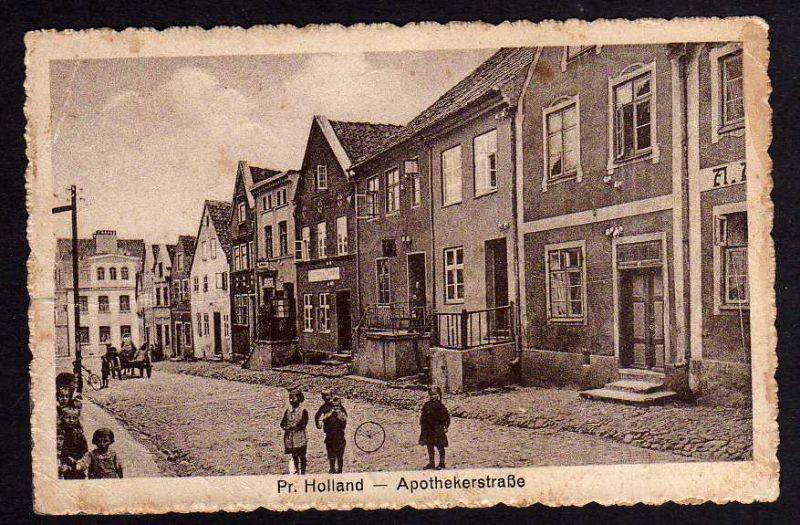 Ansichtskarte Preußisch Holland Ostpreußen 1943 Apothekerstraße Feldpost