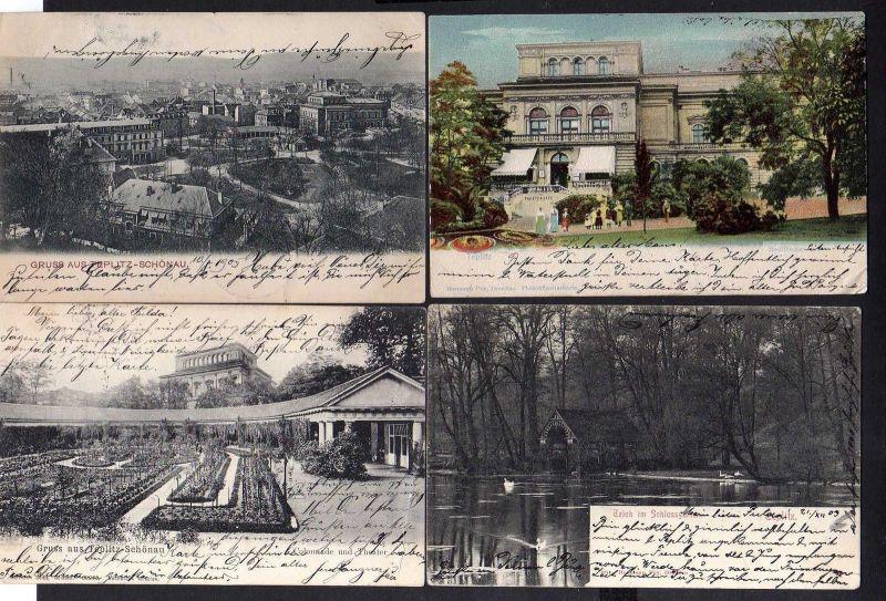 4 Ansichtskarte Teplice Teplitz Schönau 1905 Stadttheater Schlossgarten Colonade