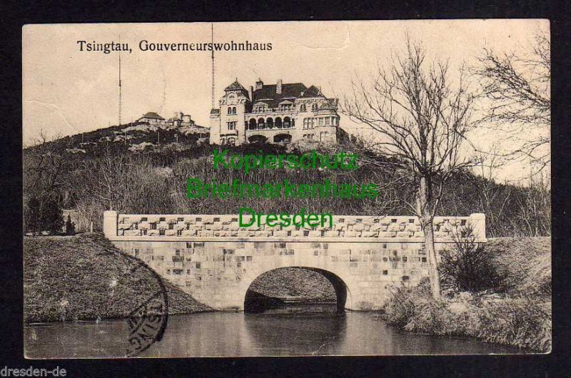 Ansichtskarte Tsingtau China Tsintao 1912 Gouverneurswohnhaus Brücke