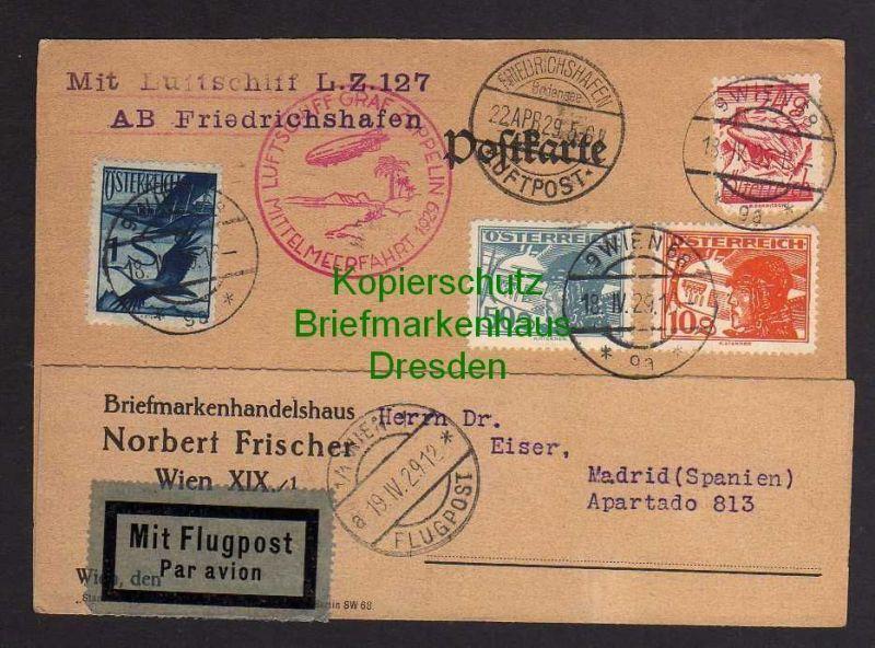 Ansichtskarte Österreich 1929 Zeppelin Mittelmeerfahrt Zuleitungspost Abwurf Sevilla